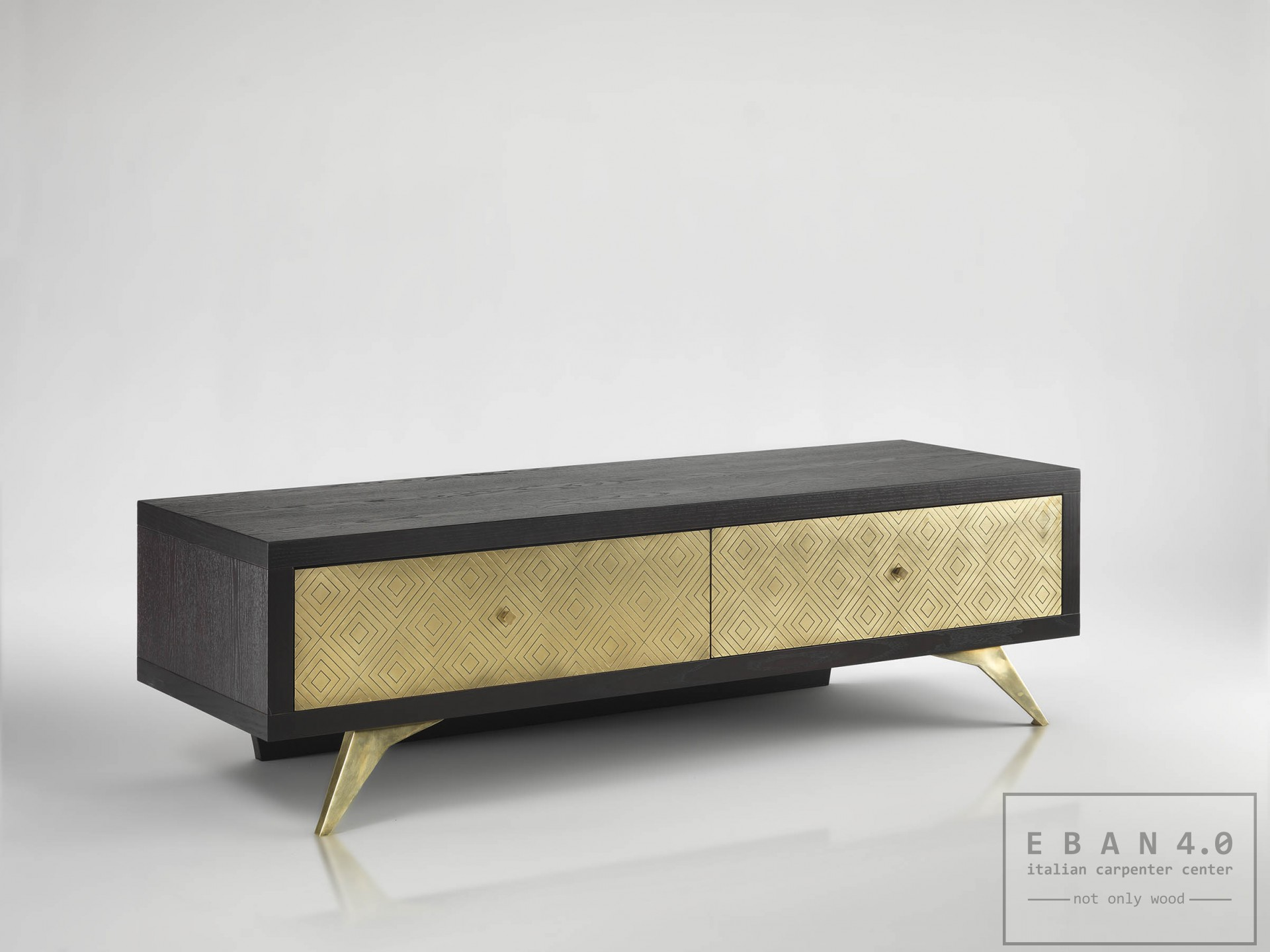 tv stand dom  low tv stand in ashwood with brass platesdim -